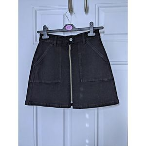 Madewell Black Denim Utility Zip Skirt Size 24